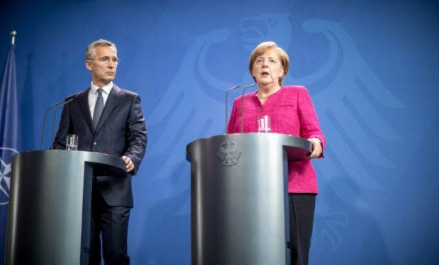 German Chancellor Angela Merkel and NATO General Secretary Jens Stoltenberg held a press conference in Berlin after talks