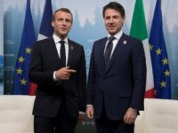 French president Emmanuel Macron, left, meets Italian Prime Minister Giuseppe Conte during last week's G7 summit in Canada