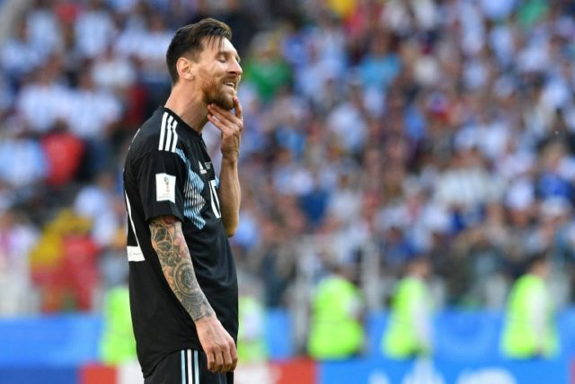 Argentina's Lionel Messi reacts after his penalty was saved during the match against Iceland in Moscow