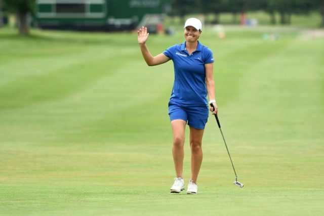 Lee-Anne Pace of South Africa reacts to a birdie on the 18th hole during the third round of the Meijer LPGA Classic at Blythefield Country Club on June 16, 2018 in Grand Rapids, Michigan