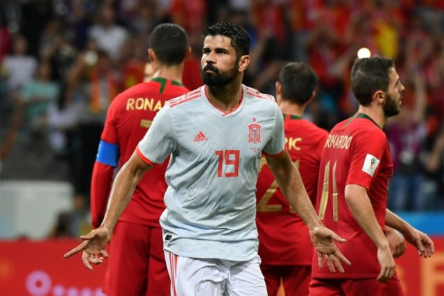 Diego Costa celebrates after scoring for Spain in Friday's thrilling 3-3 draw with Portugal in Sochi