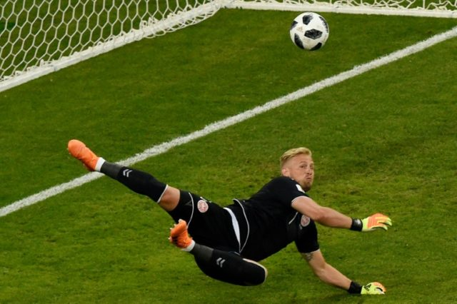 Denmark's goalkeeper Kasper Schmeichel earned praise for his outstanding display in the 1-0 win over Peru during the 2018 World Cup Group C football match against Peru at the Mordovia Arena in Saransk.