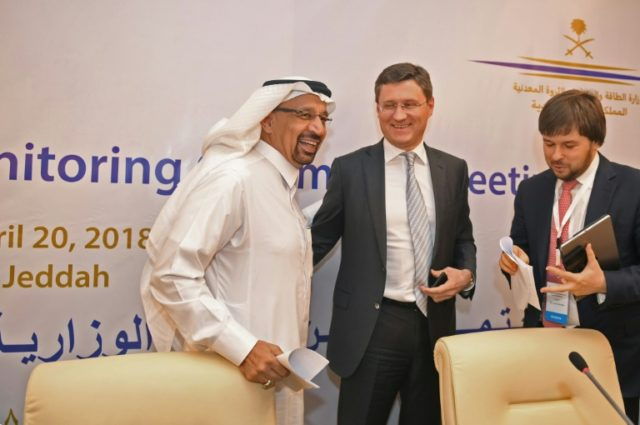 Russian Energy Minister Alexander Novak (C), pictured with his Saudi counterpart Khaled al-Faleh (L) at a meeting of OPEC and non-OPEC members in April, 2018