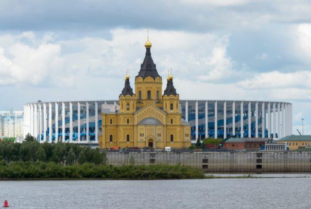 The Nizhny Novgorod World Cup stadium stands Alexander Nevsky cathedral