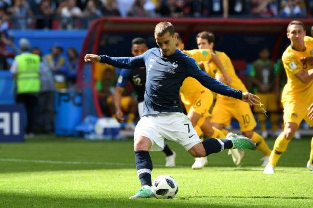 France forward Antoine Griezmann scores a penalty against Australia in Kazan