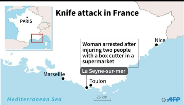 Map of southern France locating La Seyne-sur-mer where a woman was arrested after wounding two people with a box cutter