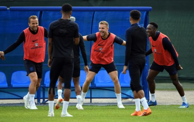 England captain Harry Kane (L), who is yet to score a goal in a tournament, has vowed an aggressive approach against opponents expected to defend in numbers