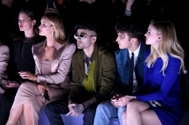 Zayn Malik (center), at a Tom Ford fashion show in New York City in February 2018