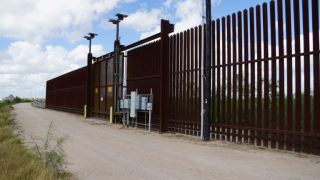 A gate on the US side of the US-Meixcan border fence in McAllen, Texas.