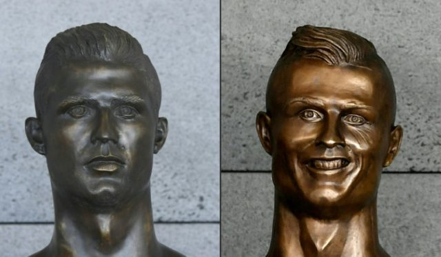 The new bust on the left is deemed a better likeness than the controversial original at Cristiano Ronaldo International Airport at Funchal, Madeira