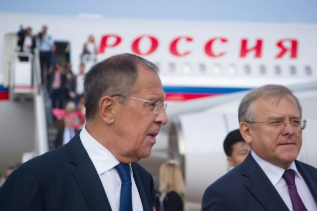Russia's Foreign Minister Sergei Lavrov (L)in Pyongyang on May 31, 2018, ahead of a landmark summit between Donald Trump and North Korean leader Kim Jong Un in Singapore
