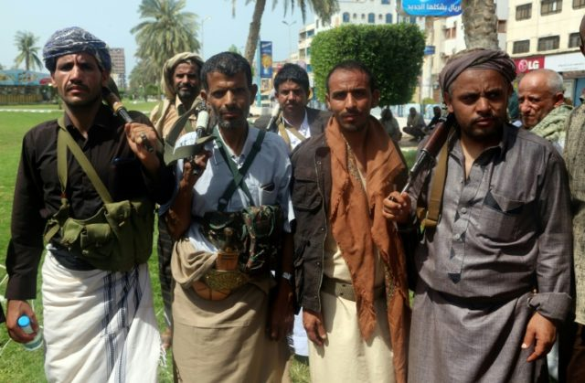 Shiite Huthi rebels during a gathering to mobilize more fighters to the battlefront to fight pro-government forces, in the Red Sea port city of Hodeidah on June 18, 2018