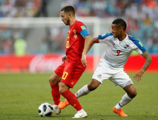 Eden Hazard is challenged by Panama's Gabriel Torres