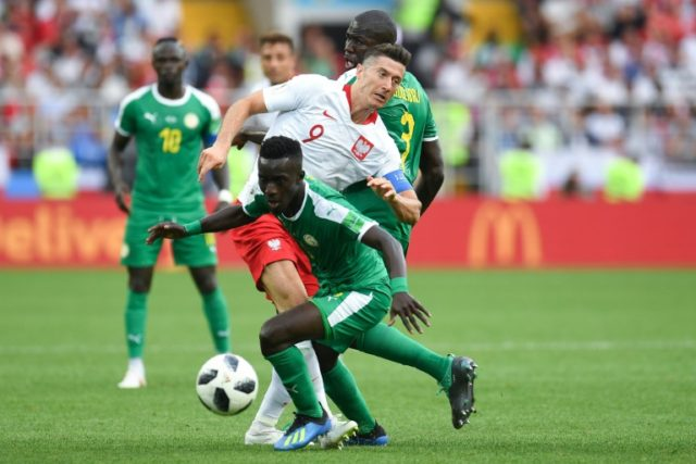 Robert Lewandowski was closely marked by the Senegal defence