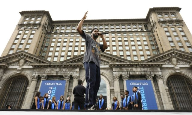 Rapper Big Sean performs at a Ford Motor Company event where Ford announced plans to renovate the historic, 105-year-old Michigan Central train station in Detroit, Michigan on June 19, 2018