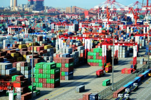 Shipping containers at a port in Qingdao, in China's eastern Shandong province