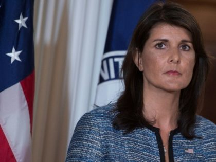 "US Ambassador to the United Nation Nikki Haley, seen here at the State Department June 19, 2018, accuses human rights groups of ""unrelenting bias"" against Israel"