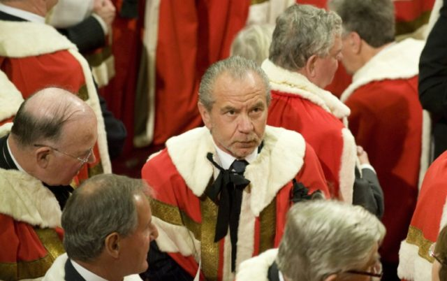 """Labour prime minister Gordon Brown made Alan Sugar, 71, a lord in 2009, but he left the party in 2015, citing its """"negative business policies"""""""