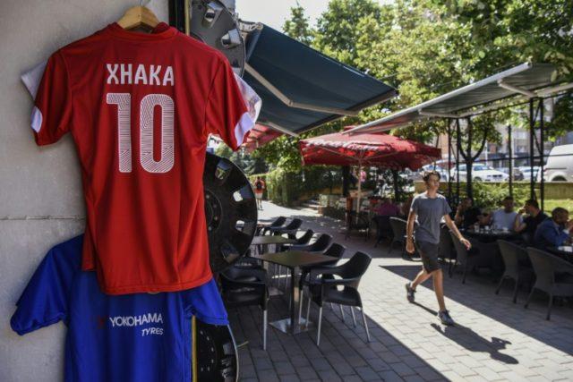 Granit Xhaka jerseys are on sale in the Kosovo capital Pristina