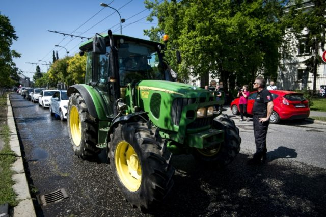 Slovak farmers drove tractors into Bratislava during a protest against irregularities in EU farm subsidy payments