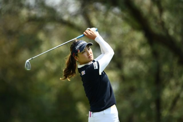 Ryu So-yeon of South Korea hits her tee shot on the 12th hole