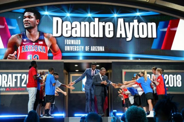 Deandre Ayton is introduced before the 2018 NBA Draft, at the Barclays Center in New York, on June 21