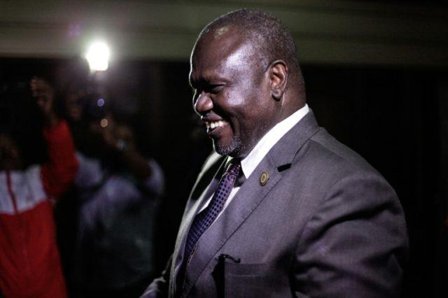 South Sudan's opposition leader Riek Machar, arriving for talks Wednesday with rival President Salva Kiir