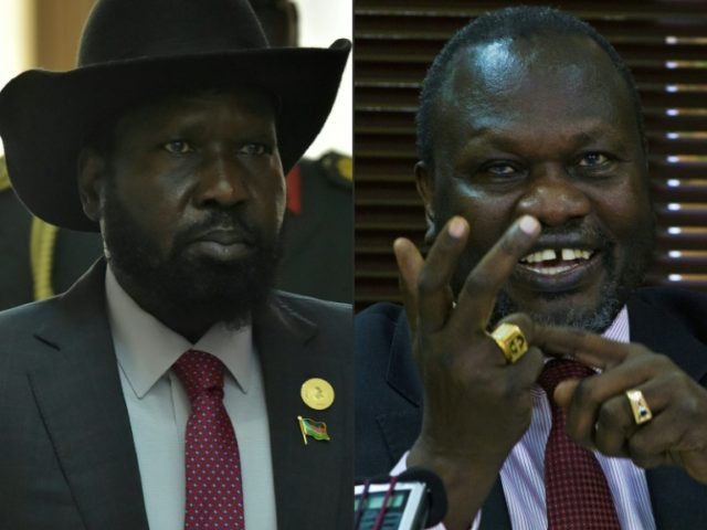 South Sudan foes President Salva Kiir (L) and rebel leader Riek Machar are to meet in Khartoum on Monday for only their second round of talks in nearly two years as they face a looming deadline to avert UN sanctions over their devastating war