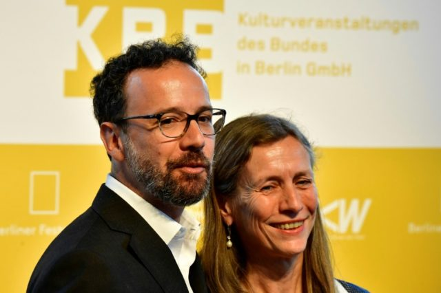 Italian Carlo Chatrian (left) and Holland's Dutch Mariette Rissenbeek after the announcement in Berlin they will be the future artistic director and the future managing director of the International Berlinale Film Festival.