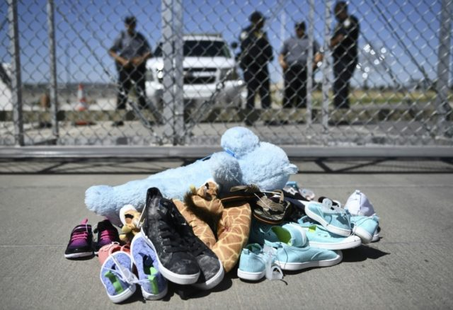 Shoes left by the Tornillo border port near El Paso, Texas, during a protest rally against the separation of migrant families