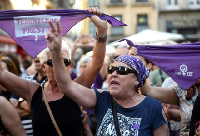 Protesters in Pamplona on Thursday