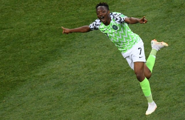 Nigeria's forward Ahmed Musa celebrates after scoring