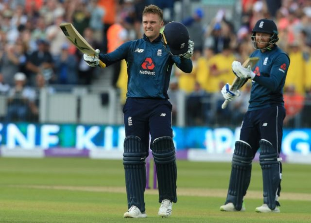 Century-maker: Jason Roy celebrates his ton during the fourth ODI on Thursday