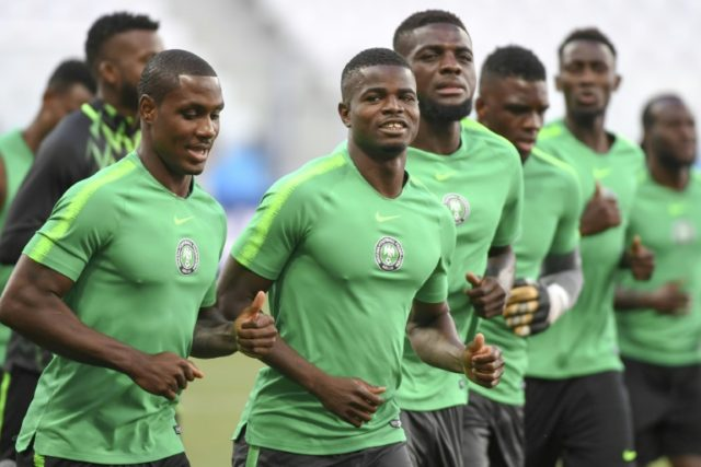 Green power: The Super Eagles train on the eve of Friday's big match