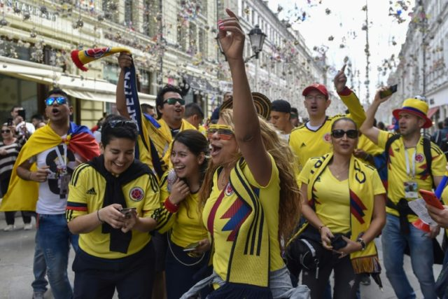 World Cup fans flock to party in Moscow's 'street of lights'