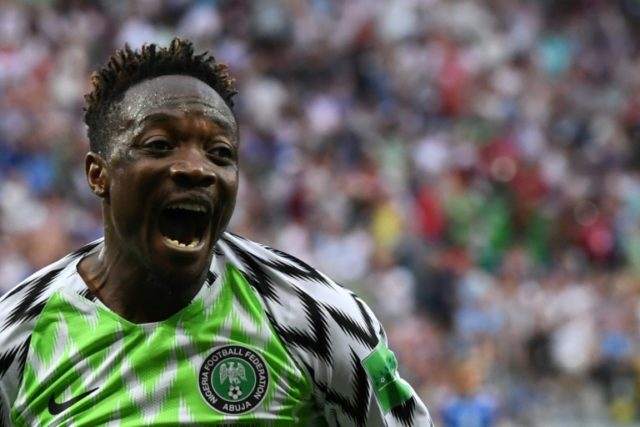 Nigeria forward Ahmed Musa celebrates after scoring against Iceland in Volgograd