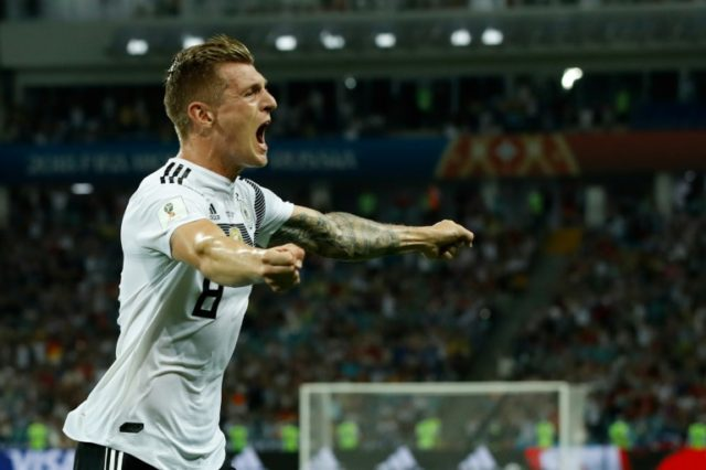 Toni Kroos celebrates after scoring Germany's late winner against Sweden in Sochi