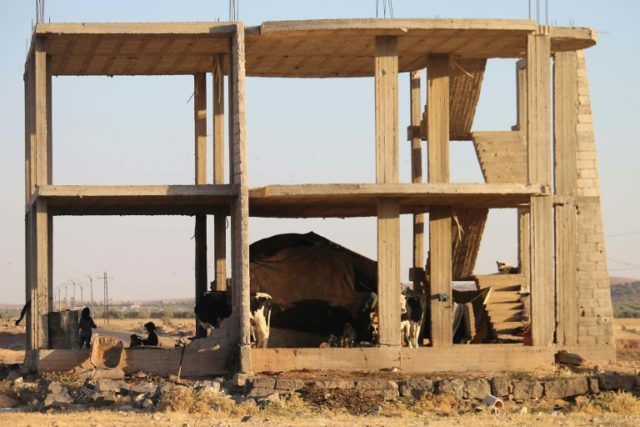 A Syrian family takes shelter under an empty building with their tent and cows in Daraa, southwestern Syria, after several days of intensified bombardment by Syrian regime forces