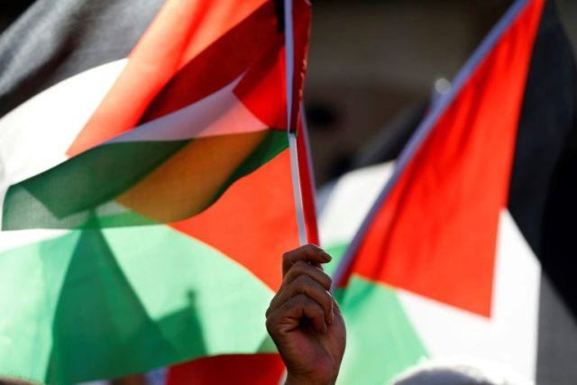 A Palestinian waves his national flag as he takes part in a protest calling for a lift of the sanctions on Gaza Strip, in the occupied West Bank city of Ramallah