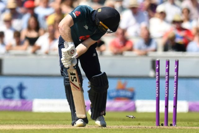 Captain Eoin Morgan bowled for a duck as England's early batting collapsed against Australia.