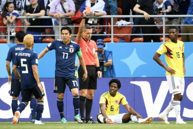 Carlos Sanchez was shown a red card in Colombia's defeat to Japan
