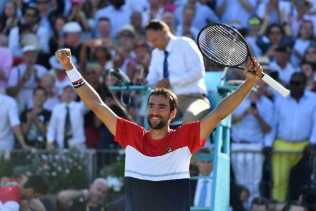 Champion: Marin Cilic celebrates after beating Novak Djokovic on Sunday