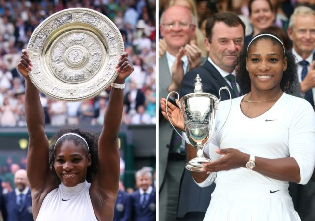 Double celebraton: Serena Williams with the 2016 Wimbledon singles and doubles trophies