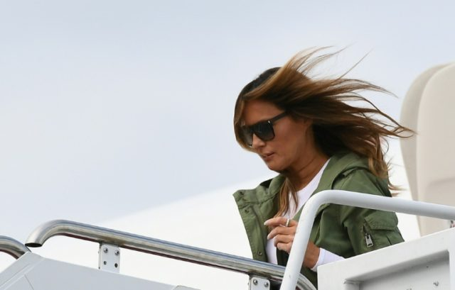 """Melania Trump stunned observers by travelling to visit child migrants in Texas in a jacket emblazoned with the words """"I really don't care. Do U?"""""""