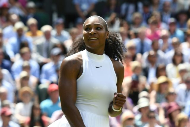 Queen of Centre Court: Serena Williams in action at Wimbledon on her last appearance in 2016
