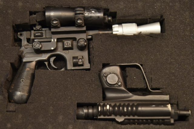 "Han Solo's blaster, used by actor Harrison Ford in the filming of ""Return of the Jedi,"" sold at auction for $550,000"