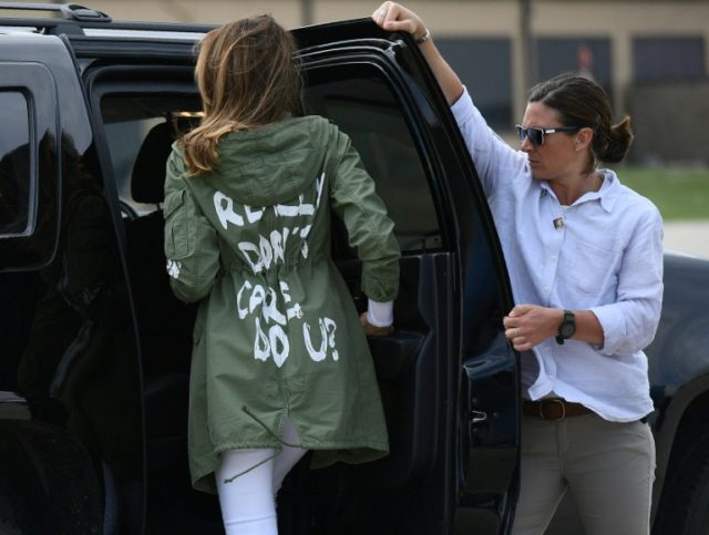 """Melania Trump's last surprise visit to the US-Mexico border yielded a surprise choice of apparel, lettering on her jacket reading """"I really don't care. Do U?"""" -- a cryptic message that sent the internet ablaze"""