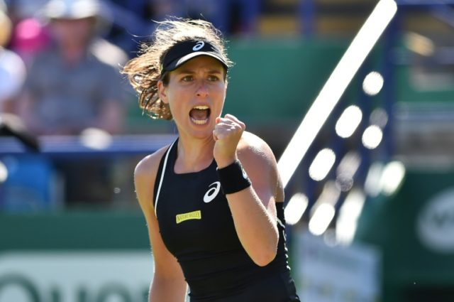 Britain's Johanna Konta celebrates after beating Serbia's Aleksandra Krunic at Eastbourne