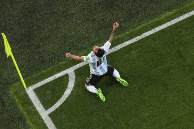 Relief: Lionel Messi scored his first goal of the 2018 World Cup to give Argentina the lead against Nigeria