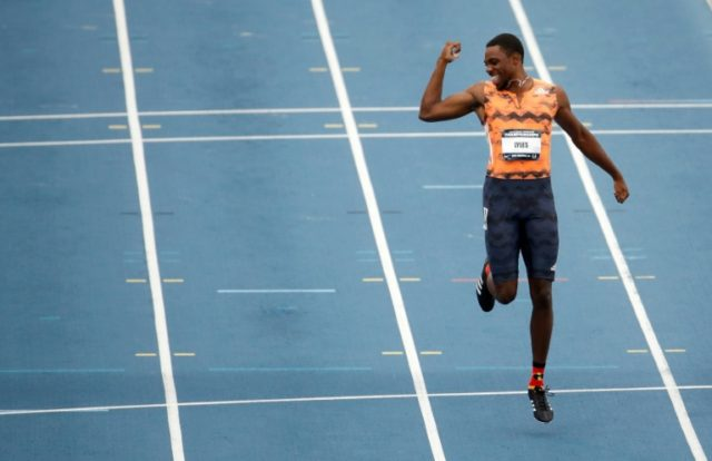 Noah Lyles celebrates after winning the 100m Final on day 2 of the 2018 USATF Outdoor Championships, at Drake Stadium in Des Moines, Iowa, on June 22